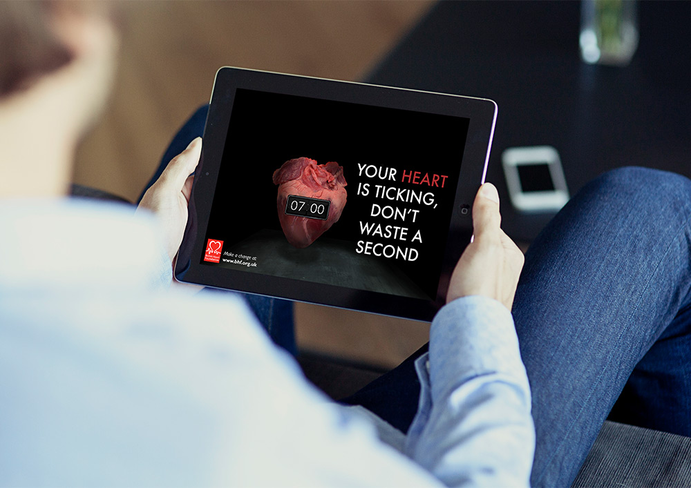 Mock up image of a British Heart Foundation Advert on an iPad