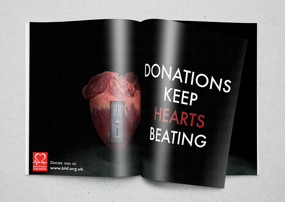 British Heart Foundation advert in a mock up magazine